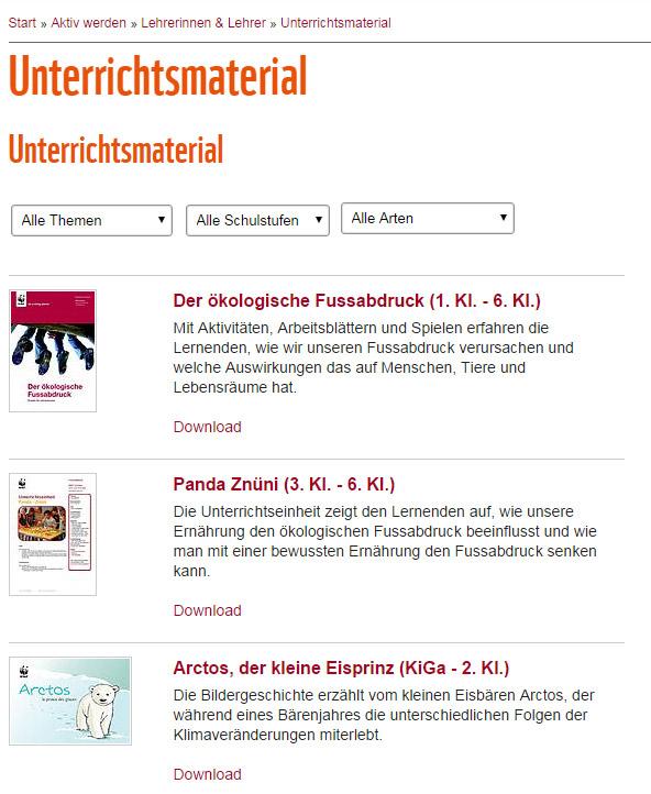WWF Schweiz – Unterrichtsmaterial